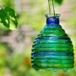 Green candle lantern with copy space — Stock Photo