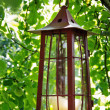 Picturesque candle lantern hanging in an apple tree — Stock Photo #12081412