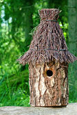 Decorative nesting box in green background — Stock Photo