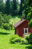 Red idyllic cottage in summer landscape — Stock Photo