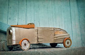 Old wooden toy car — 图库照片