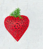 Red heart shaped Christmas decoration — Stock Photo