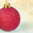 Golden and red Christmas baubles - Stock Photo