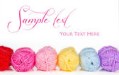 Collection of colorful balls of woolen yarn — Stock Photo