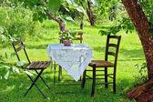 живописном месте небольшой журнальный столик и деревянный стул — Стоковое фото