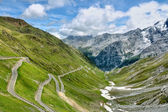 Serpentine road in Alps — Stock Photo