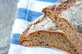 Dark wholegrain rye bread closeup — Stock Photo