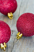 Group of red Christmas baubles — Stock Photo
