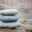 Stock Photo: Zen stones on old driftwood