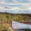 Rusty old boat at beach — Stock Photo #15532219