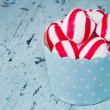 Peppermint candy on rustic setting — Stock Photo