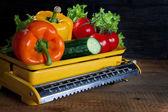 Verduras frescas en una escala — Foto de Stock