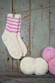 Woolen socks in vintage setting — Stock Photo