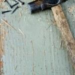 Old vintage hammer on wooden background — Stock Photo #18021477