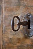 Closeup of an old keyhole with key — Stock Photo