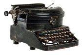 Antique typewriter isolated on white — Stok fotoğraf