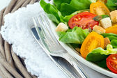 Green salad with tomatos and croutons — Stock Photo