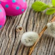 Easter decoration on rustic wooden background — Stockfoto