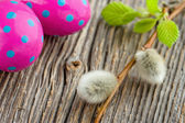 Easter decoration on rustic wooden background — Stock Photo