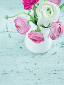 Pastel color flowers on shabby chic background — Stock Photo