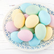 Pastel color easter eggs on old plate — Stock Photo #20250911