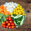 Arrangement of vegetables in a round metal tray — Stock Photo