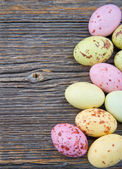 Easter background, small pastel color easter eggs — Stock Photo