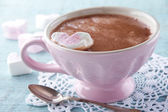 Hot chocolate in an elegant pink cup — Stock Photo
