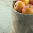 Apples in a sackcloth bag with vintage editing — Stock Photo