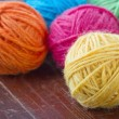 Closeup of colorful woolen yarn — Stock Photo