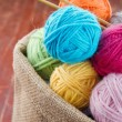 Woolen balls of yarn in a rustic craft bag — Stock Photo