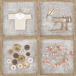 Sewing items on brown background - Stock Photo