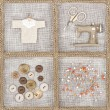 Sewing items on brown background — Stock Photo