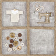 Sewing items on rustic linen background — Stock Photo #24353247