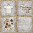 Sewing items on rustic linen background - Stock Photo