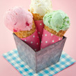 Cones of ice cream on pink vintage background — Stock Photo #24379563