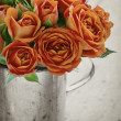 Orange rose on black and white background — Stock Photo