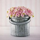 Pink hydrangea flowers in a metal bucket — Stock Photo