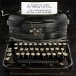 Old antique typewriter with text — Stok fotoğraf