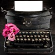 Old antique black vintage typewriter — Stok fotoğraf