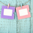 Two empty colorful photo frames — Stok fotoğraf