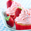 Strawberry cupcakes with sprinkles — Stock Photo