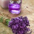 Bouquet of fresh purple flowers and bottles of soap and lotion — Stock Photo