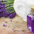 Lavender spa cosmetic products — Stock Photo