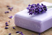 Bar of violet soap — Stock Photo