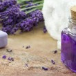 Spa cosmetic and wellness products of lavender — Foto de Stock