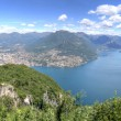 Landscape of Alpine mountains at Lake Lugano — Stock Photo