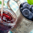 Jam in a glass jar — Stock Photo