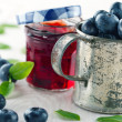 Jar of blueberry jam — Stock Photo