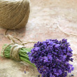 Lavender flowers tied with rustic twine — Stock Photo